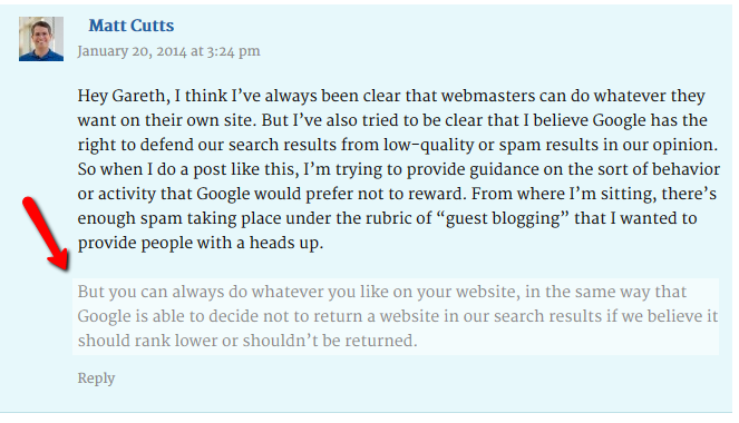 matt cutts guest blogging comment