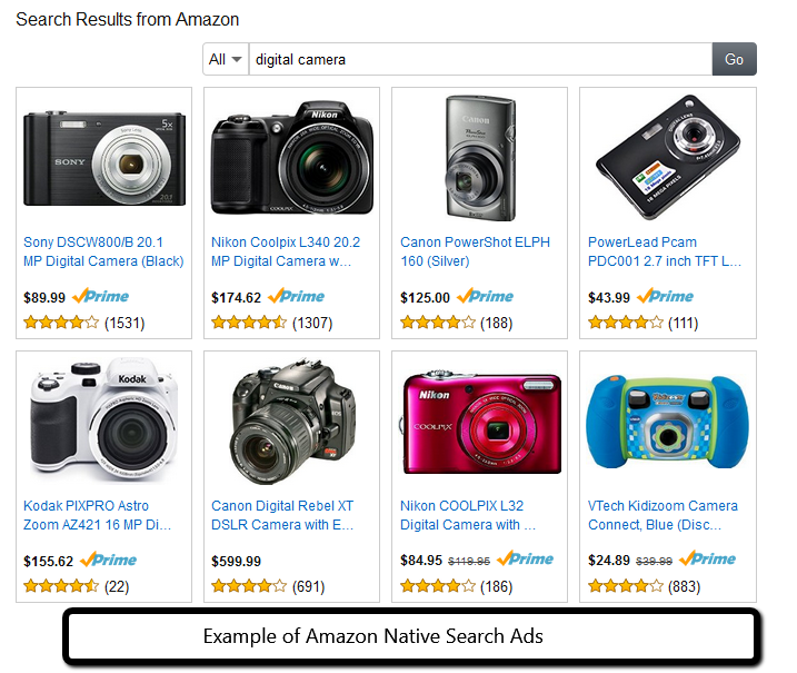 Example of Amazon Native Search Ads from PotPieGirl.com