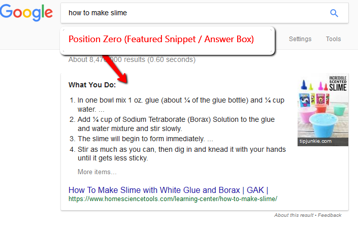 What is Position Zero in Google?  Position Zero is the Featured Snippet (Answer Box) at the top of Google's Orgnaic search results.  These rankings get more traffic that when you rank #1 for your keyword.